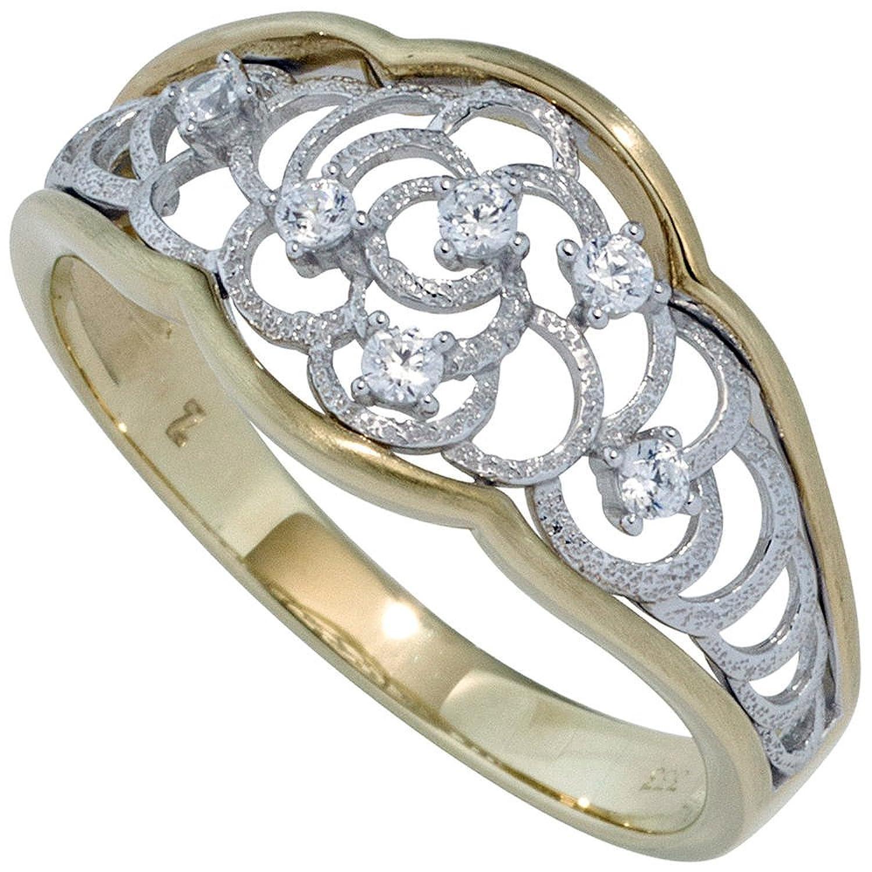 Damen Ring 333 Gold Gelbgold Weißgold bicolor mattiert mit Zirkonia Goldring ( Gold Ringe ) Größe : 58 (18.5) als Geschenk