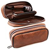 Scotte PU Leather tobacco Smoking Wood pipe pouch case/bag for 2 tobacco pipe and other accessories(Does not include pipes and accessories) (Color: Brown)