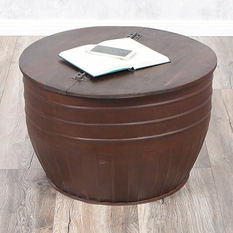 Couchtisch TAN Natur-S aus Recycled Wood Metall Industrial Beistelltisch 60cm