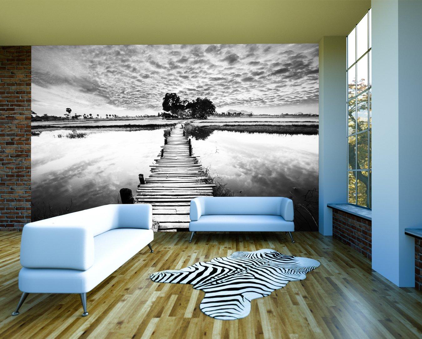 Bilderdepot24 selbstklebende Fototapete Steg retro  schwarz weiss 300x230 cm  direkt vom Hersteller   Kundenbewertungen