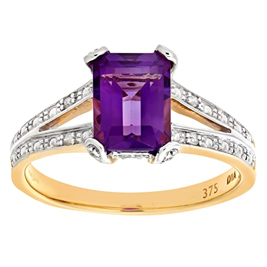 Naava 9ct Yellow Gold Single Stone Amethyst with Diamond Set Collette and Shoulders Ladies Ring