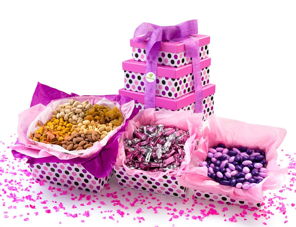 Pistachio Gifts® Candy, Nuts & Dried Fruit Variety 3 Tier Gift Basket Tower, Pink & Purple Theme