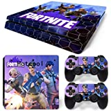 Vinyl Decal Fortnite Protective Save The World Skin Cover Sticker For PS4 Playstation 4 System Console and Controllers Decal Cover Vinal Sticker + 2 Controller Skins Set Style 6937