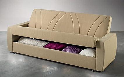 dafnedesign. COM–Sofa Bett mit Stauraum und zwei Kissen Queensize in Mikrofaser beige. Sofa Bett umwandelbar 3Sitzer mit Mechanismus Klack und Fullung A Federn Orthopädischer. Öffnen, großer Stauraum die nimmt alles
