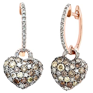 Naava 9 ct Rose Gold 1.10ct Brown and White Diamonds Filled, Heart Drop Earrings