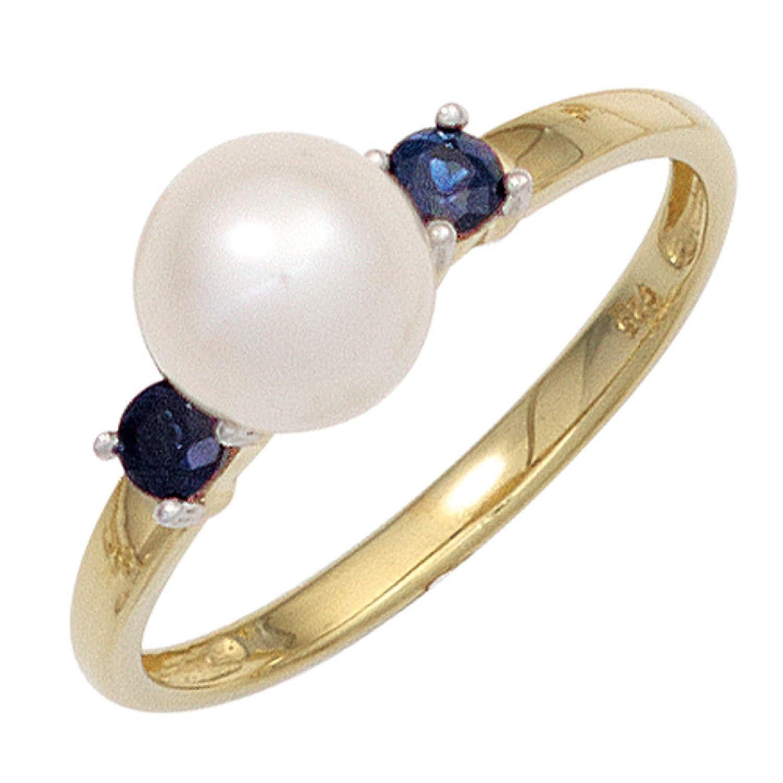 Damen Ring 585 Bicolor Gelbgold Weißgold kombiniert 1 Süßwasser Perle 2 Safire blau online kaufen