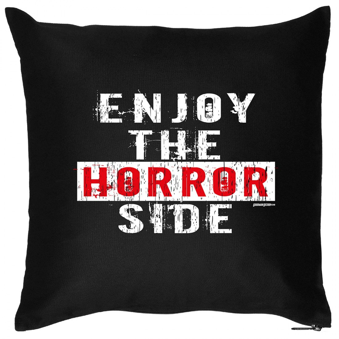 Kissen Sofakissen mit Aufdruck – Enjoy the Horror side – Zombie Hexe Grusel Geister Halloween Geschenk – Wendekissen jetzt bestellen