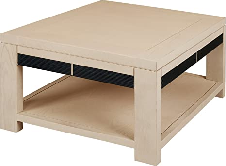 Square Coffee Table Natural Oak Double Fluted Tray
