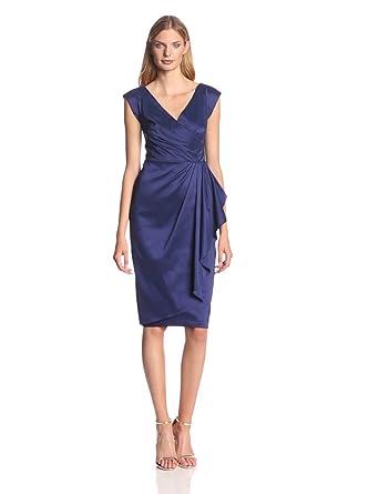 Maggy London Women's Taffeta Pleated Drape Dress, True Navy, 10