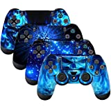 SubClap 4 Packs PS4 Controller Skin, Vinyl Decal Sticker Cover Compatible with Sony Playstation 4 DualShock 4 Wireless Controller (Shining Blue) (Color: Blue)