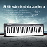 Muslady WORLDE KS49C-A 49-Key USB MIDI Keyboard Controller Built-in Sound Source with 6.35mm Pedal Jack MIDI Out