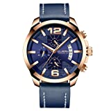 CUENA Men Fashion Quartz Wristwatch Stainless Steel Waterproof Large Dial Leather Chronograph Watch Blue (Color: Blue, Tamaño: Large)