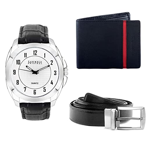 Laurels Men's Wallet,watch And Belt Combo (Black,White) (DIP102-GTII03)