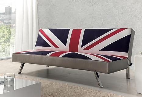 Due-home - Sofa cama clic-clac, patas cromadas, acabado en estampado Bristish, medidas: ↔ 214 ↕ 85 ↗ 83cm