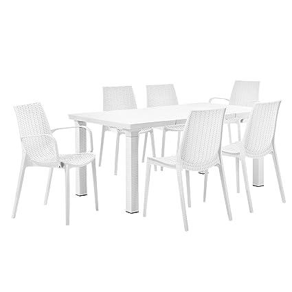 [casa.pro]® Gartentisch mit 6 Stuhlen - Sitzgarnitur in Rattan-Optik - Gartenmöbel Set in Weiß
