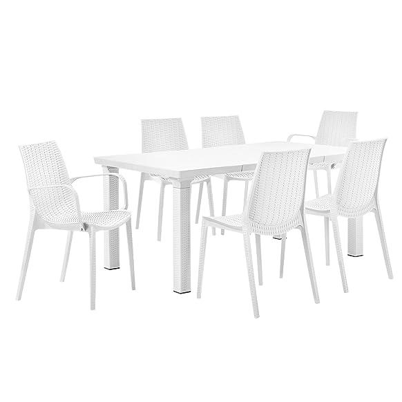 [casa.pro]® Tavolo da giardino con 6 sedie - mobili da giardino in ottica rattan set mobili bianco