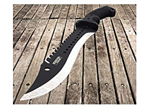 GoodsZone 16 Full Tang Fixed Blade Machete Knife Tactical Hunting Camping Bowie with Sheath Serrated Sharp Blade Defender Extreme Black