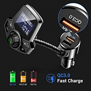 Bluetooth FM Transmitter for Car, Ainope Upgrade V4.2 Car Radio Bluetooth Adapter with QC3.0 & 2.4A Fast Charging, Hands-Free FM Transmitter Bluetooth