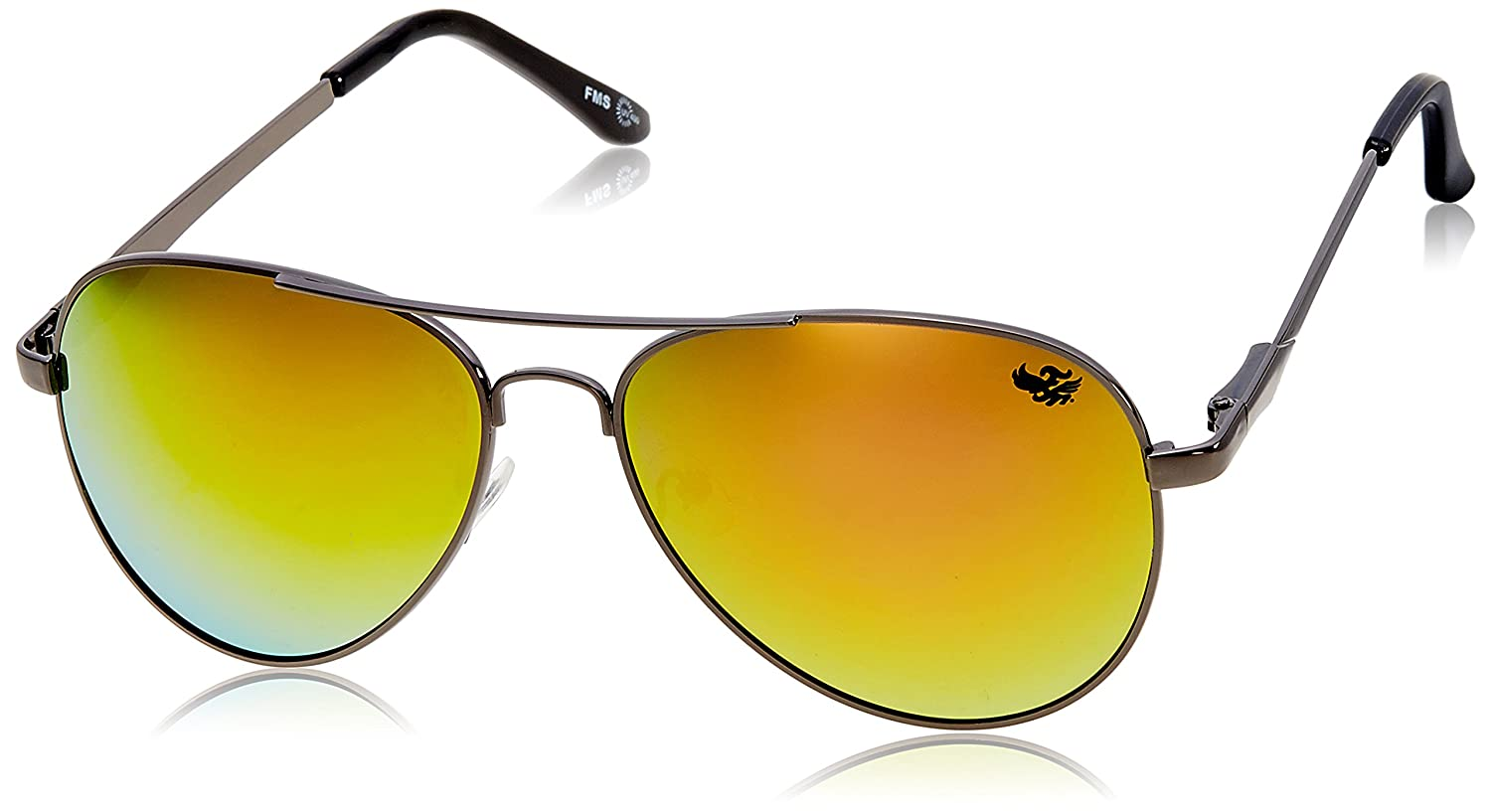 Min 50% off Flying Machine Men's Clothing & Acessories By Amazon | Flying machine Aviator Sunglasses (Shiny Gun) (FMS-111|205|FREESIZE) @ Rs.508
