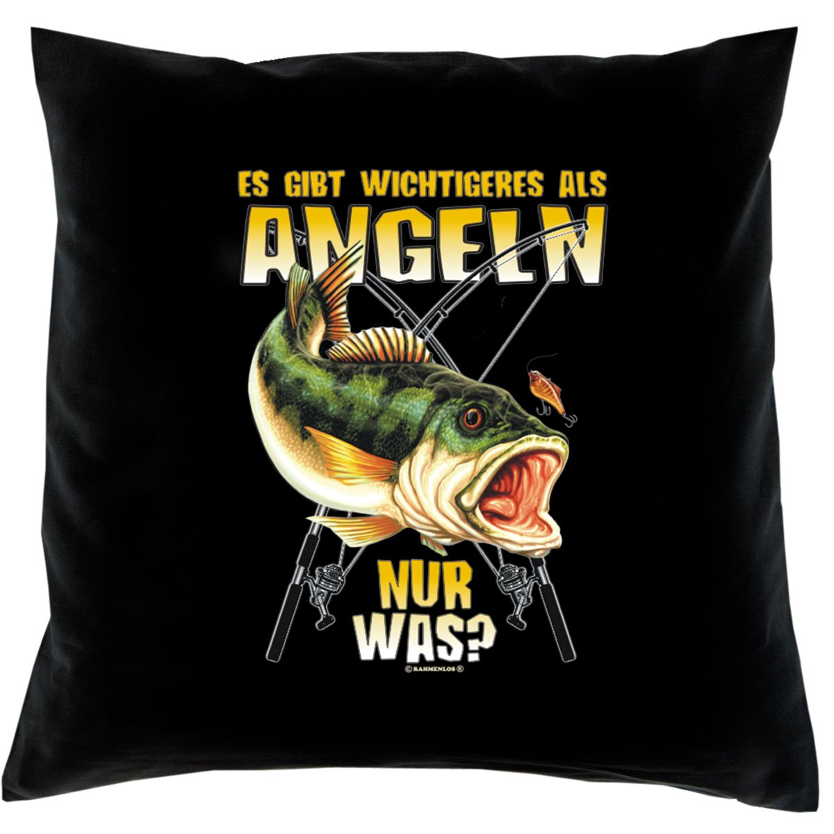 Kissen mit Innenkissen - Angler - Es gibt wichtigeres als Angeln - nur was? - mit 40 x 40 cm - in schwarz : )