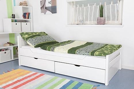 """Bettgestell / Funktionsbett """"Easy Sleep"""" K1/ Voll inkl 2 Schubladen und 2 Abdeckblenden, 90 x 200 cm Buche Vollholz weiß lackiert"""