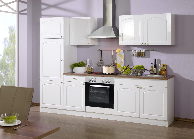 Held Möbel 690.6039 Küchenzeile 270 in Hochglanz-weiß / weiß / Nussbaum mit E-Geräten