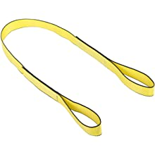 Mazzella EE1 Edgeguard Nylon Web Sling, Eye-and-Eye, Yellow, 1 Ply, Flat Eyes, Vertical Load Capacity