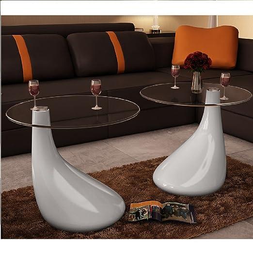 Tavolini salotto set da 2 in vetro design bianco a goccia