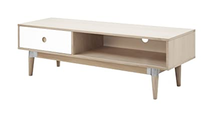 TV-Board ACKY, TV-Lowboard, weiß/Eiche