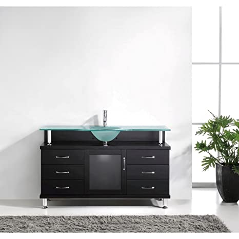 Virtu USA MS-55-FG-ES Vincente 55-Inch Bathroom Vanity with Single Sink with Frosted Tempered Glass Countertop, Espresso Finish