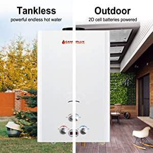 Camplux 16L Outdoor 4.22 GPM Digital Display Propane Gas Tankless Water Heater (Color: White, Tamaño: 16L)