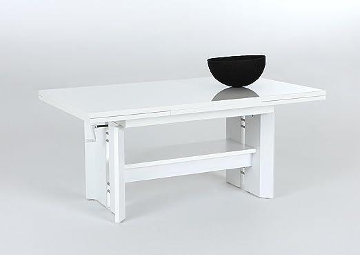 Dario Couchtisch höhenverstellbar ausziehbar Tischpl Hochglanz.weiß
