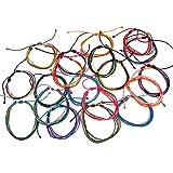 Mia Jewel Shop Multi Strand String Pull Tie Multicolored Bracelet Wholesale Assorted Colors (12) (Color: Multicolor)
