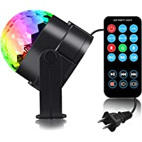 Spriak Sound Activated 7-Color LED Disco Ball Lamp Stage DJ Lighting with Remote