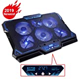 KEYNICE Laptop Cooling Pad, Notebook Cooler with 6 Quiet Fan, Dual USB Port, 5 Wind Speed Adjustable, Blue LED Light, Fit 12