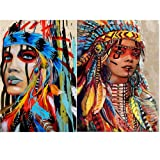 2 Pack DIY 5D Diamond Painting by Number Kits, Crystal Rhinestone Diamond Embroidery Paintings Pictures Arts Craft for Home Wall Decor (2 Pack Indians, 2x12x16inch) (Color: 2 Pack-Indians, Tamaño: 2x12x16inch)