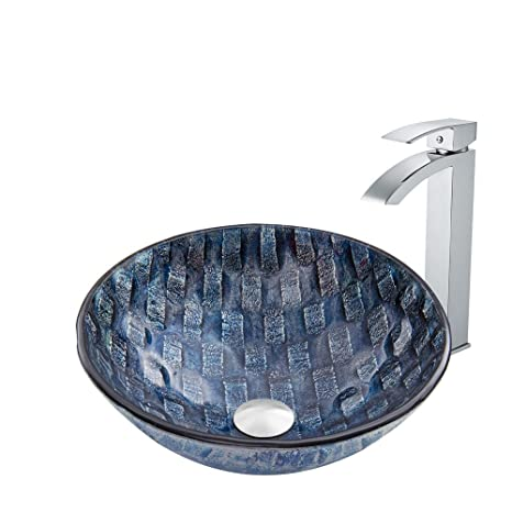 VIGO Rio Glass Vessel Bathroom Sink and Duris Vessel Faucet with Pop Up, Chrome