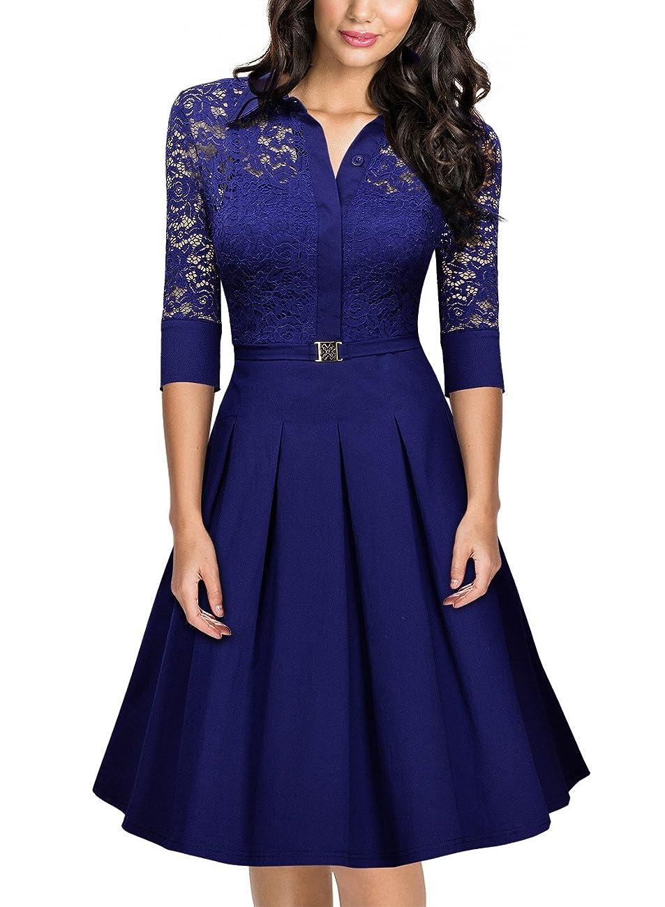 Missmay Women's Vintage 1950s Style 3/4 Sleeve Black Lace Flare A-line Dress 0
