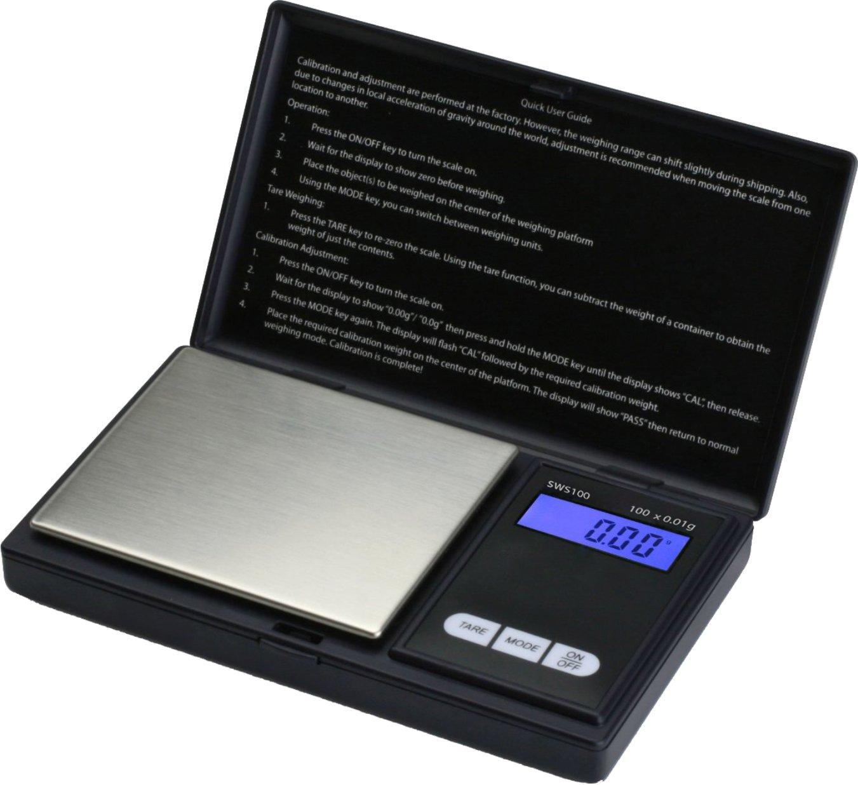 SMART WEIGHT - SWS100 - Balanza de Bolsillo Digital, de 100 x 0.01g - Color Negro   Comentarios y más información