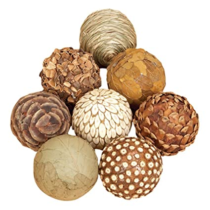 >Country Rustic Decorative 8-Pc Natural Multi-Color Spheres Set by Benzara