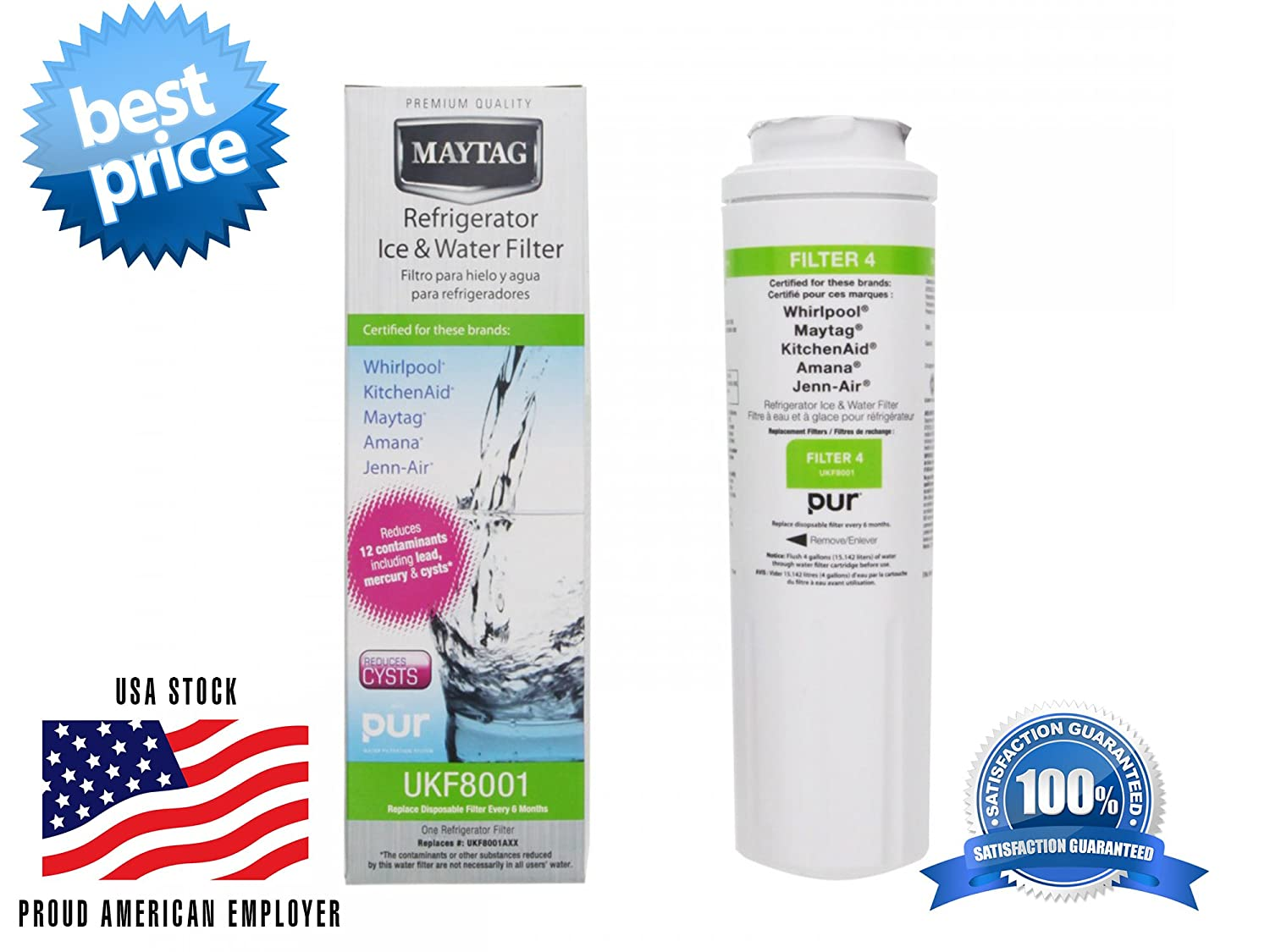 1 Pack Maytag OEM Genuine Whirlpool Refrigerator Water Filter