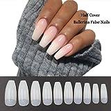 500PCS Coffin Nails Half Cover Ballerina Nail Tips False Artificial Acrylic Nails (Half-Natural) (Color: Half-Natural)