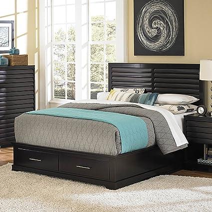 Homelegance Curran Platform Bed W/ Storage Footboard In Dark Cherry - Queen