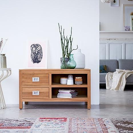 TV Möbel Unterschrank Lowboard massiv Teak Holz 90 x 50cm Sideboard neu