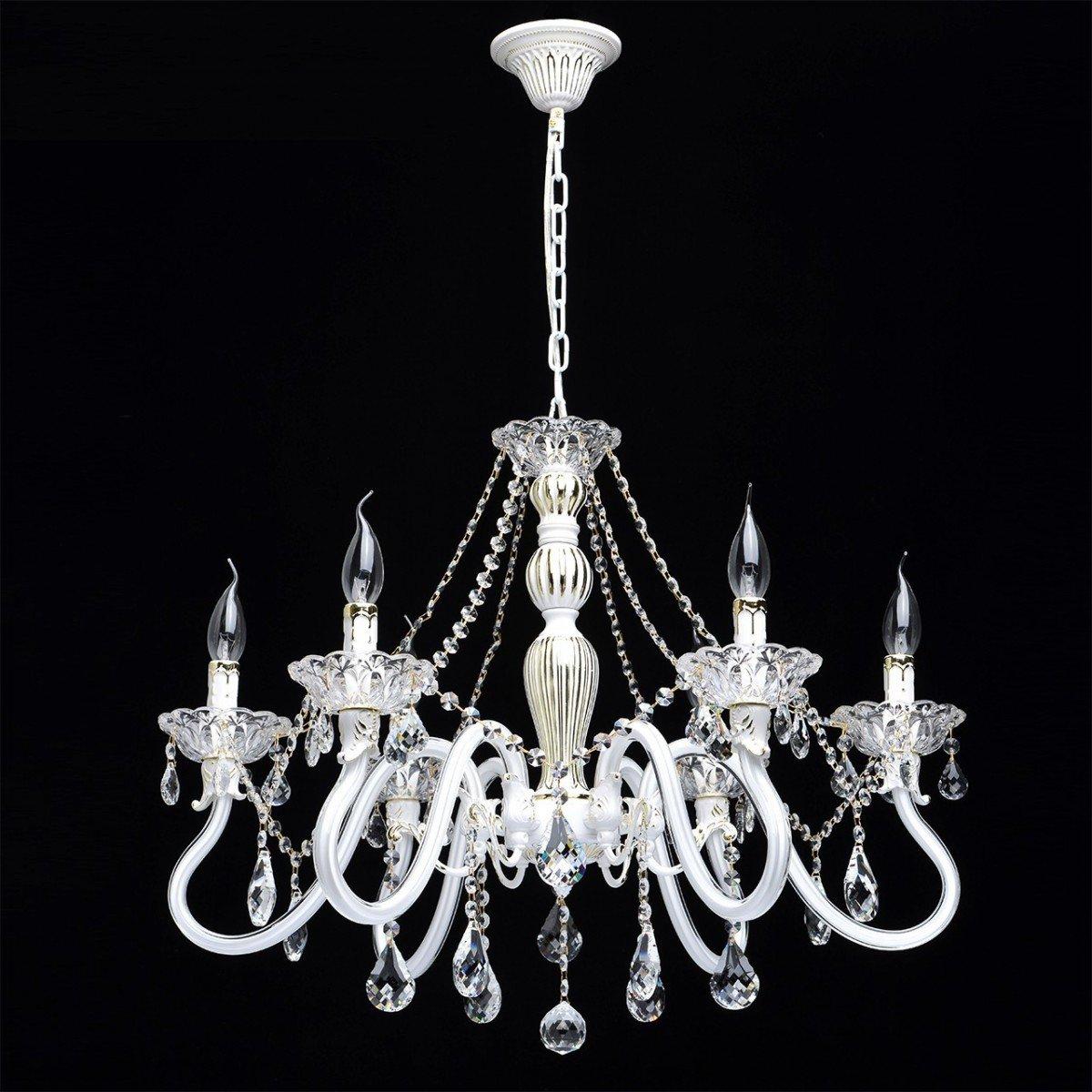 Deckenleuchte Kronleuchter Deckenlampe Leuchte Classic Style, 6-flammig, Ø 70 cm, Weiß mit Kristallen, 6 x E14 max. 60 W