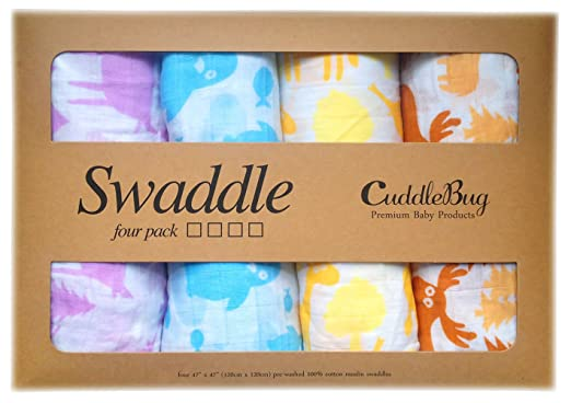 Amazon.com: Muslin Baby Swaddle Blankets 4 Pack - CuddleBug 47 inch x 47 inch Large Muslin Swaddles - Best Soft Cotton Muslin Blankets - Best Baby Shower Gift - 4 Cute Designs - Lifetime Guarantee! (animal print): Baby