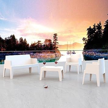 Salon coordonné Set Fibre de verre résine empilable pour extérieur jardin