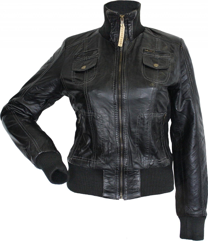 Damen Lederjacke Trend Fashion echtleder Jacke aus Lamm Nappa Leder schwarz günstig kaufen