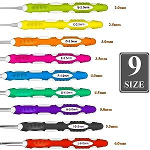 9 Pieces Crochet Hooks Ergonomic Crochet Hooks Set Crochet Hook Needles for Arthritic Hands with a Case