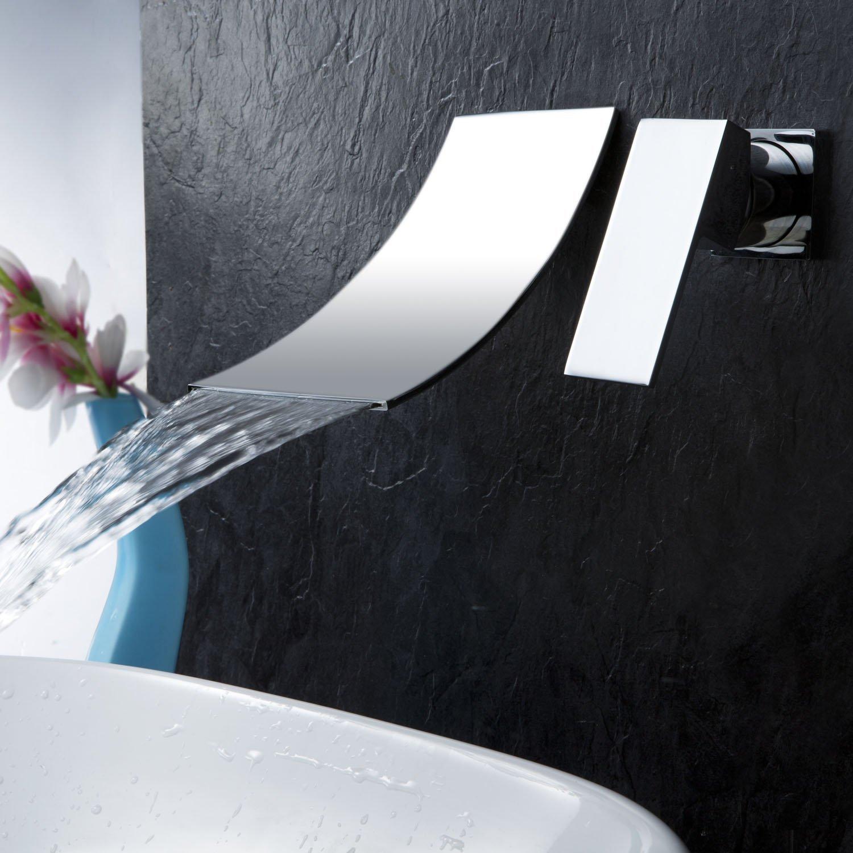 Single Handle Wall Mount Widespread Waterfall Bathroom Faucet